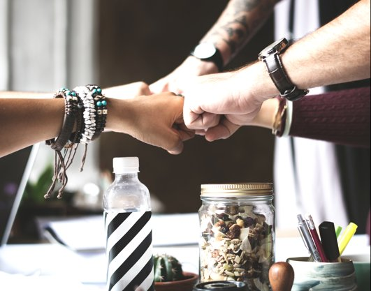 Alle Fäuste zusammen. Bei scrappel wird Teamwork groß geschrieben.